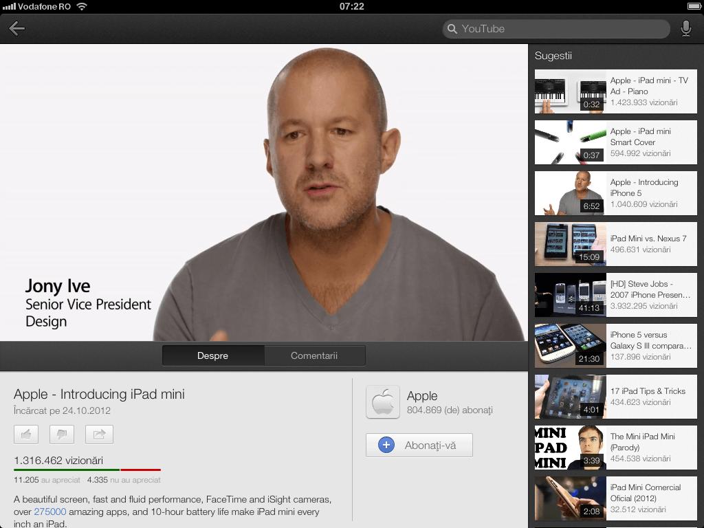 YouTube pentru iOS – update este disponibil – aduce compabilitate cu iPhone 5, iPad si AirPlay