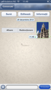 Poza expediata conversaie WhatsApp