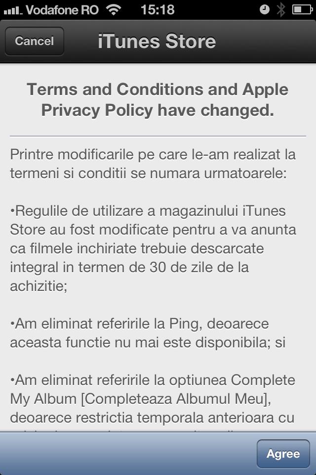 Apple modifica termenii si conditile de utilizare ale iTunes Store