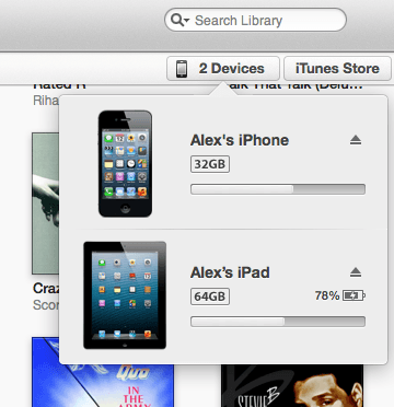Selectare device iTunes 11
