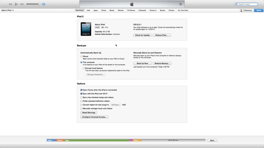 Device summary page iTunes 11