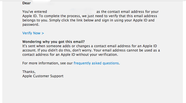 Mail confirmare Apple ID