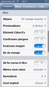Cont mail sectiune iPhone
