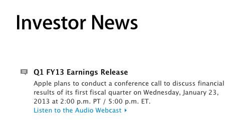 Rezultatele financiare ale Apple pentru Q1 2013 vor fi anuntate peste cateva ore