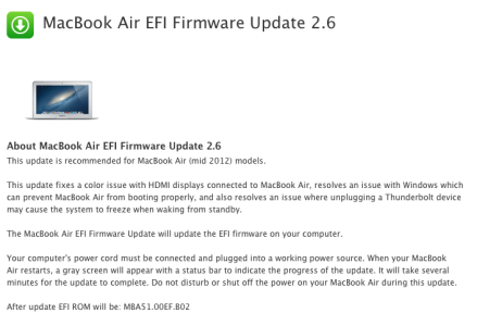 MacBook Air EFI Firemware update 2.6