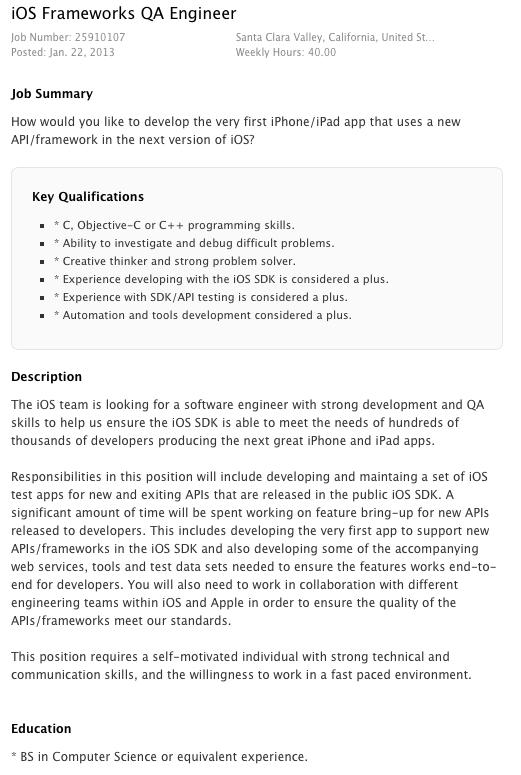 Apple intentioneaza sa angajeze un inginer pentru implementarea unui nou API in viitoarea generatie a iOS