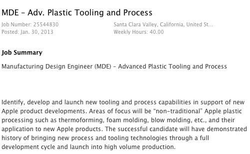 Apple doreste sa angajeze ingineri specializati in modelarea plasticului