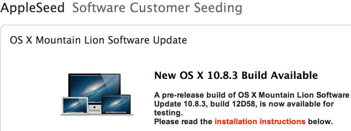 Apple a lansat OS X Mountain Lion 10.8.3 build 12D58