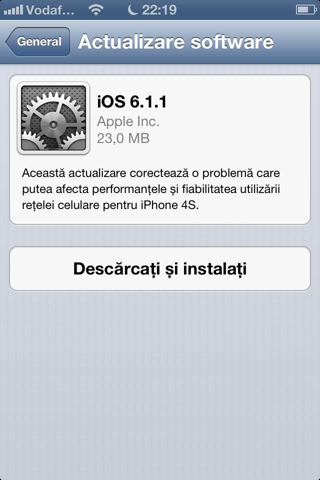 Apple a lansat iOS 6.1.1 pentru iPhone 4S