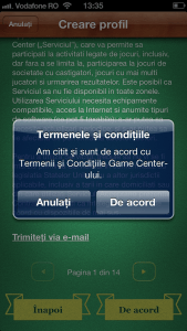 Mesaj Game Center cont creare