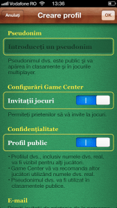 Creare cont Game Center configurari sus