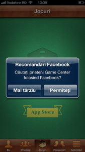 Creare cont Game Center recomandari facebook