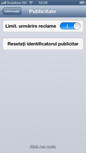 Identificator publicitar publicitate iPhone