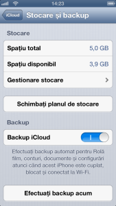 Stocare si backup iCloud