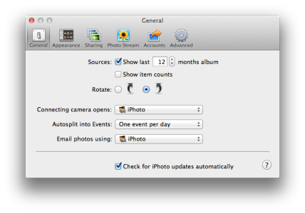 iPhoto preferences general