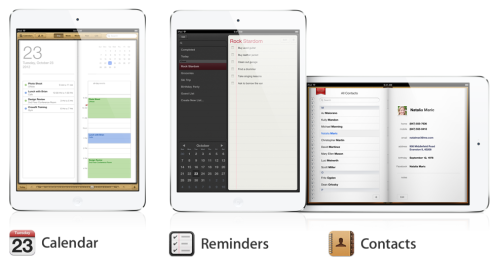 iOS Calendar Reminders Contacts iPad mini