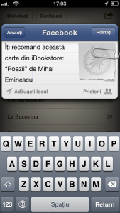 Partajare Facebook carte iBooks