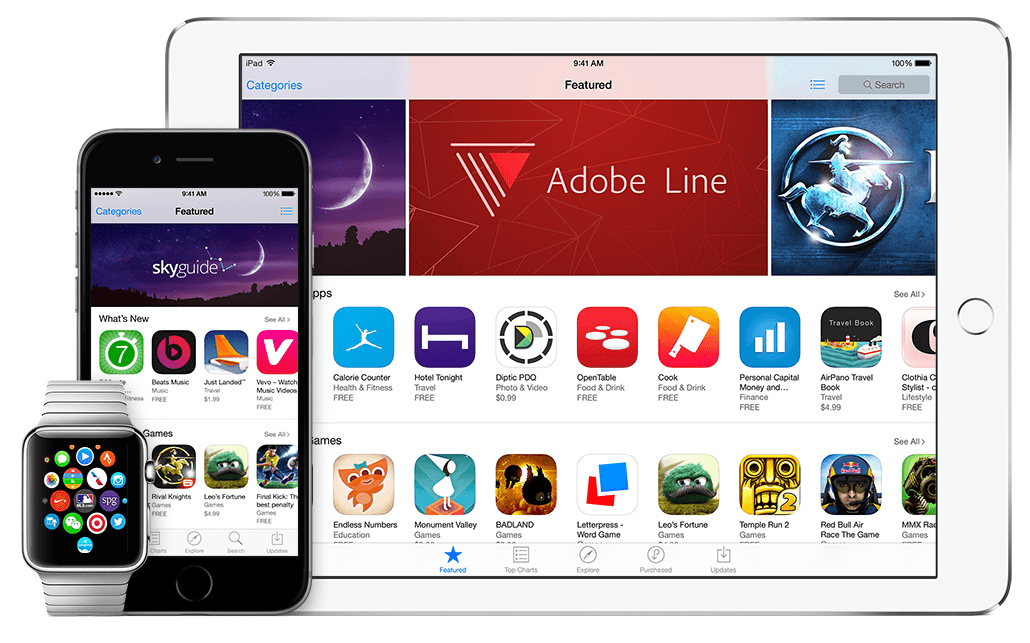 ios9 app store iphone, ipad apple watch