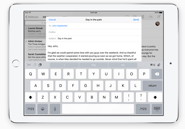 ios9 tastatura ipad