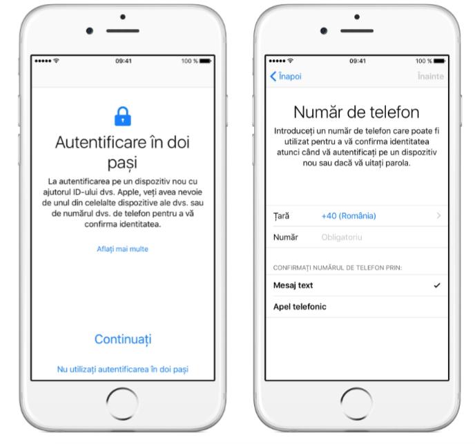 iphone autentificare în doi factori