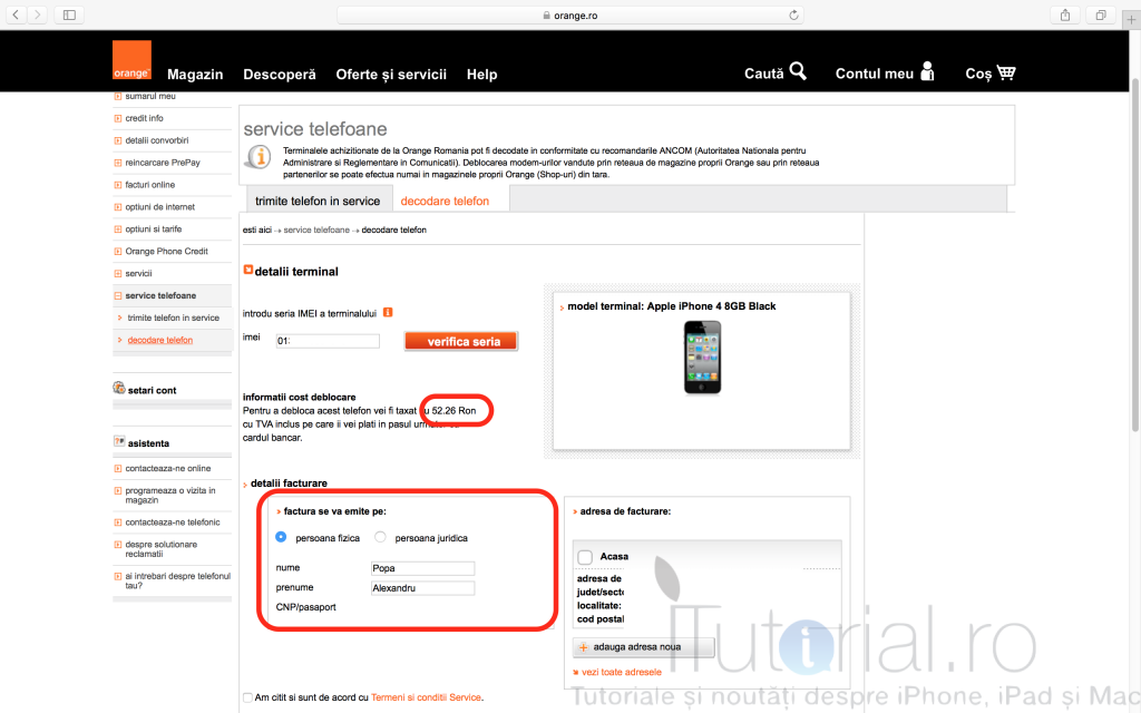 orange decodare iphone