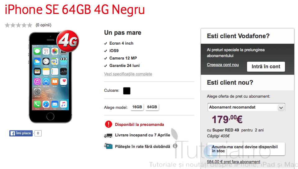 precomanda iphone se 64 gb vodafone