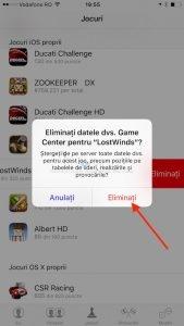 Eliminare iOS Game Center