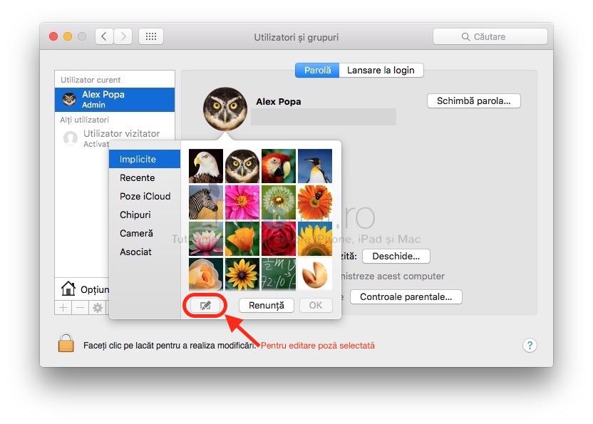 Selectie poze profil OSX