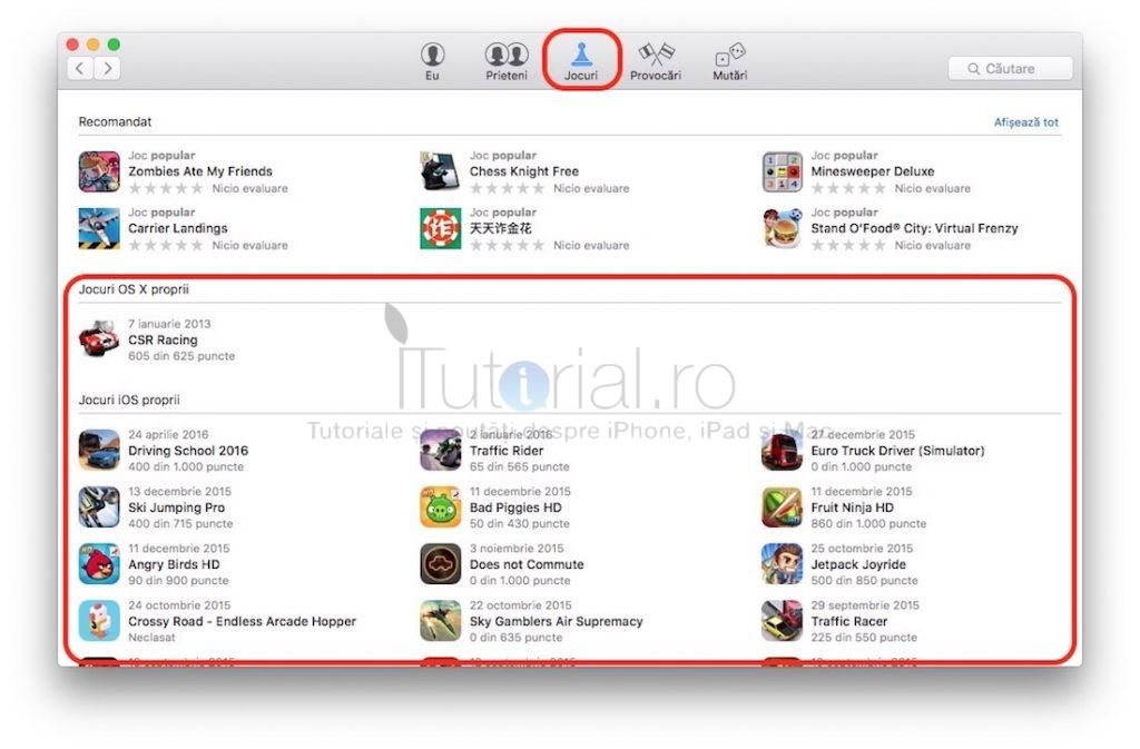 jocuri OS X Game Center