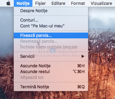 notite fixeaza parola mac