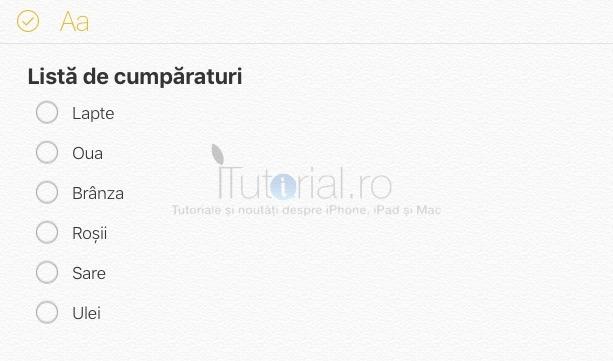 Lista de control iCloud.com notite