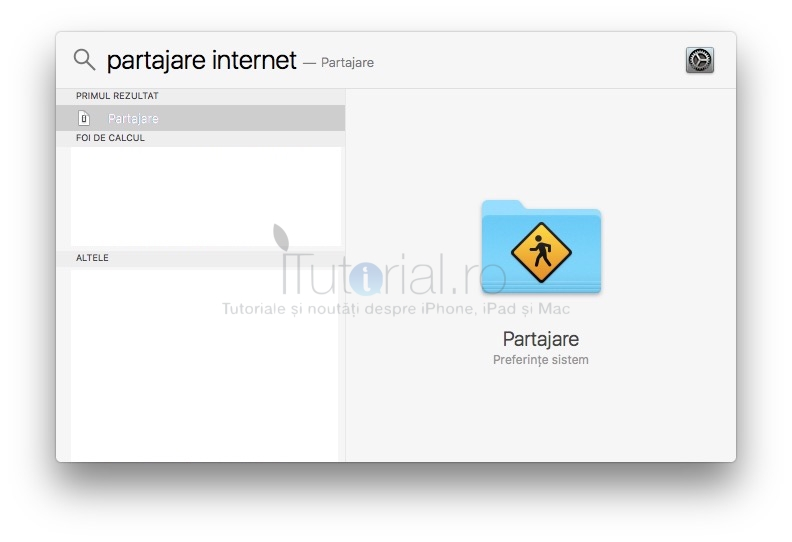 Partajare internet Cautare Spotlight