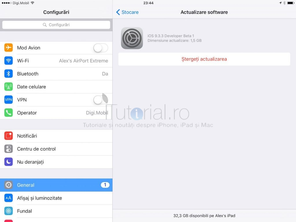 sterge actualizare ios