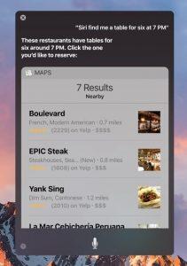 Siri comanda restaurant