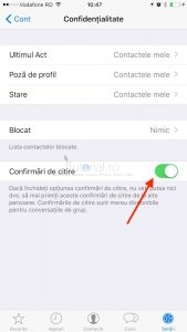 WhatsApp dezactivare confirmari de citire