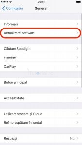 actualizare software ios