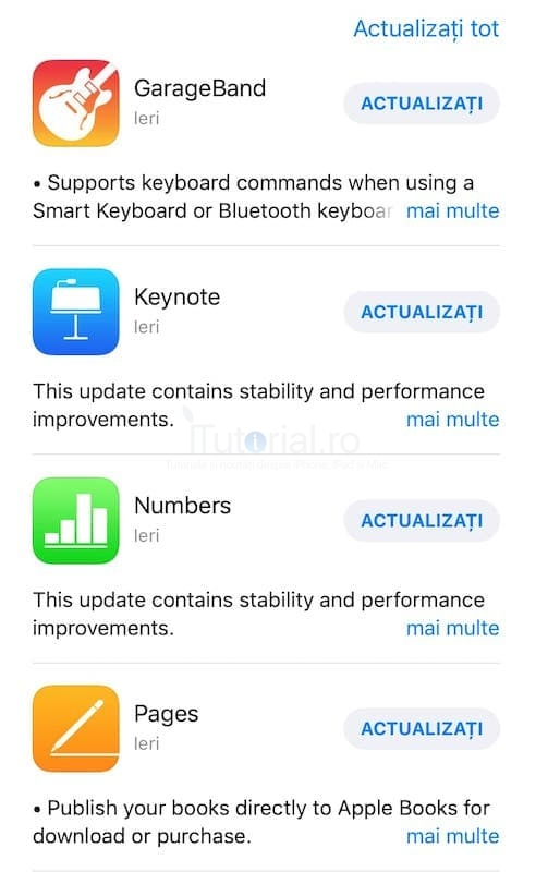 actualizari aplicatii apple