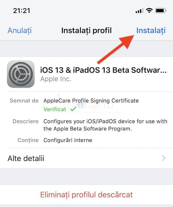 cum instalez ios 13 instalare profil