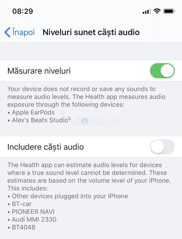 niveluri sunet căști audio ios13beta3
