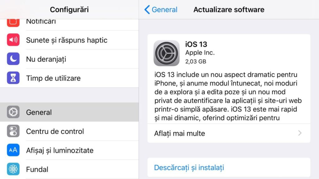 ios 13 actualizare software
