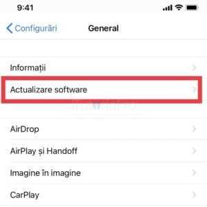 actualizare software general