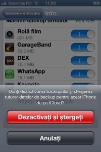 Confirmare stergere backup iCloud