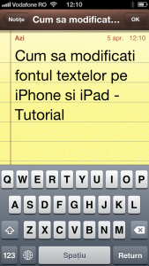 Notite text mare iPhone