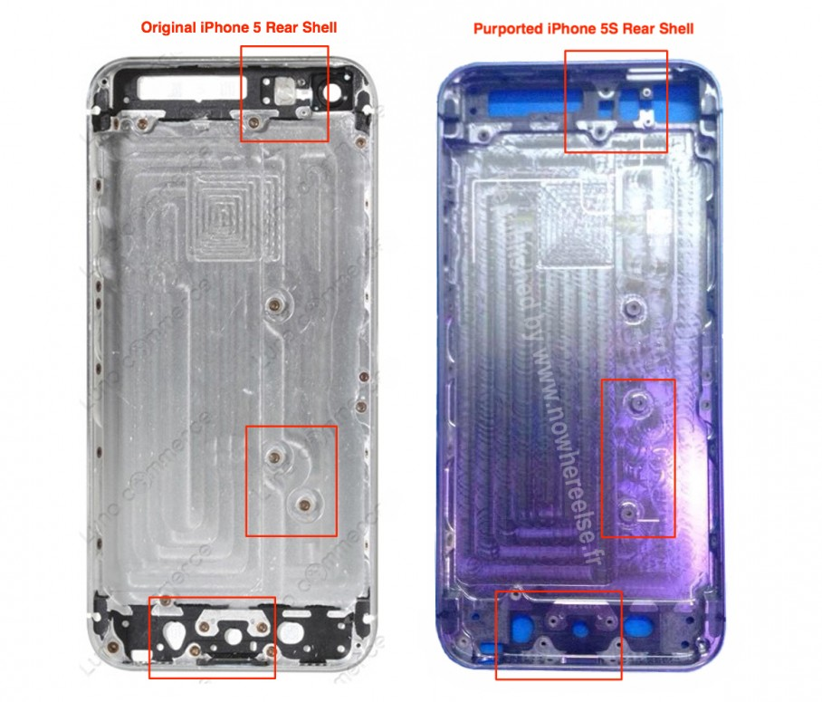 carcasa spate si cateva componente interne ale iphone 5s apar pe